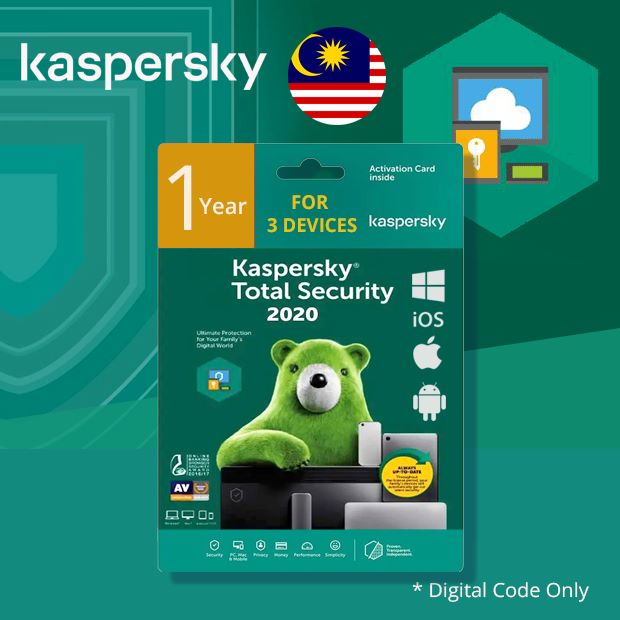 Kaspersky Total Security for Windows, Mac & Android 1 Year 3 Devices (Malaysia)