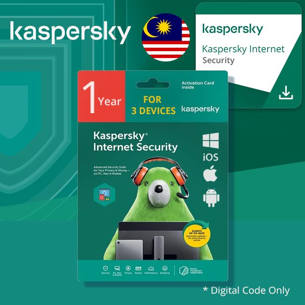 Kaspersky Internet Security for Windows, Mac & Android 1 Year 3 Devices (Malaysia)