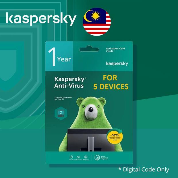 Kaspersky Antivirus for Windows 1 Year 5 Devices (Malaysia)